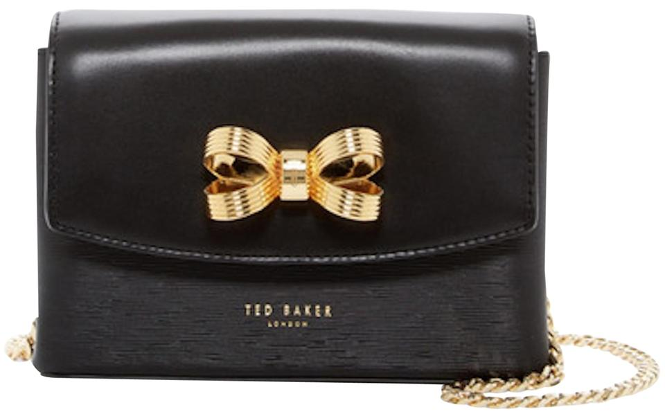 9c3284ca5b8 Ted Baker Looped Bow Mini Textured Black Gold Leather Cross Body Bag ...