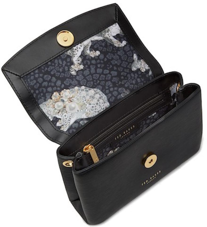 d98b86e71124 Ted Baker Looped Bow Mini Textured Black Gold Leather Cross Body Bag ...