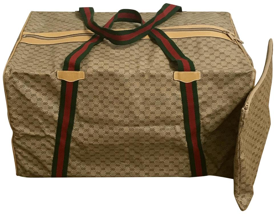c99d5bb86b8 Gucci Tan Monogram with Red and Green Straps Foldable Duffle with ...