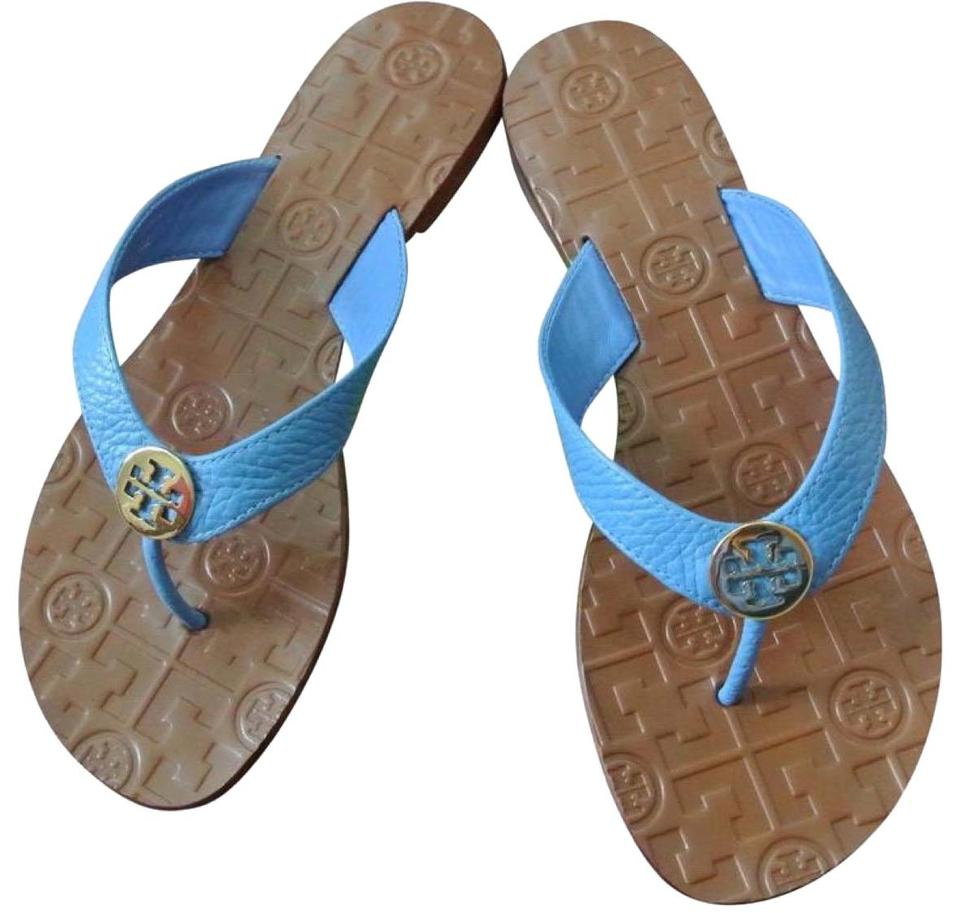 a8540d8ea57 Tory Burch Blue End-of-summer-sale Charmbray   Gold Thora Thong Leather  Sandals. Size  US 8 Regular ...