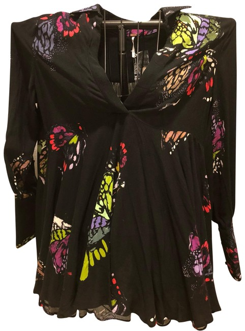Free People Top black with neon florals