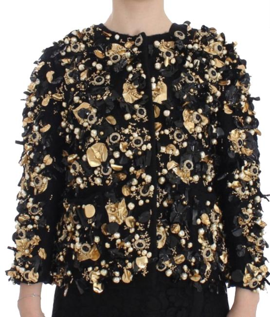 Preload https://img-static.tradesy.com/item/23631690/dolce-and-gabbana-rare-special-piece-crystal-pearl-charm-jacket-coat-black-gold-top-0-1-650-650.jpg