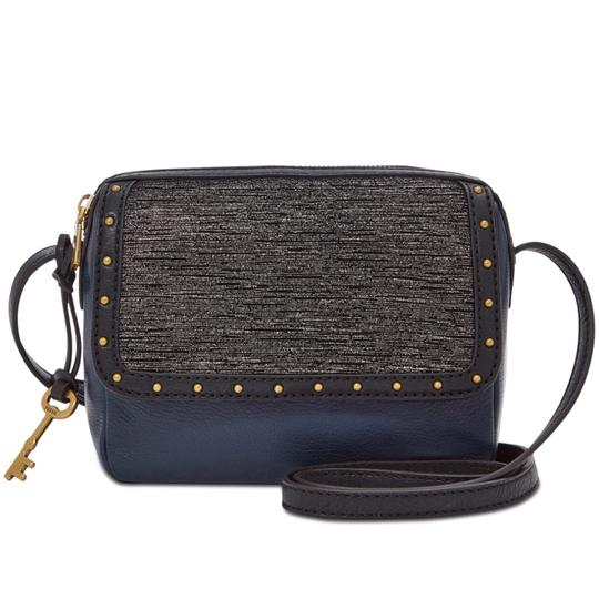 Preload https://img-static.tradesy.com/item/23631695/fossil-navyblack-leather-cross-body-bag-0-0-540-540.jpg