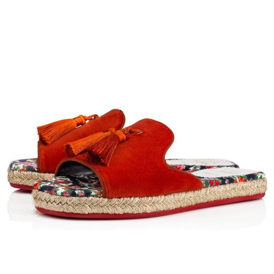 Preload https://img-static.tradesy.com/item/23631705/christian-louboutin-red-pacha-flat-bisou-floral-denim-tassel-espadrille-flop-slide-sandals-size-eu-3-0-0-540-540.jpg