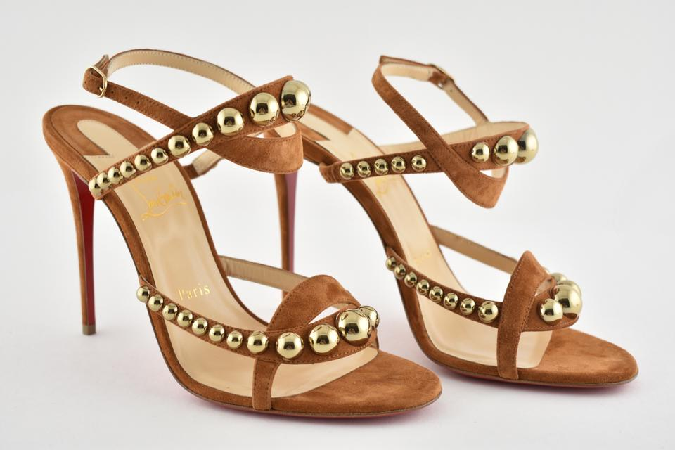 cdc9517035645a Christian Louboutin Brown Galeria 100 Cannelle Gold Bronze Stud Ankle Strap  Sandal Heel Pumps Size EU 37 (Approx. US 7) Regular (M