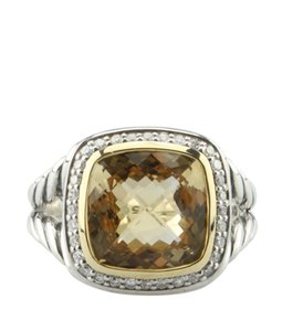 David Yurman Albion Citrine & Diamonds 18K & 925 9mm Ringx Size 7 (135267)
