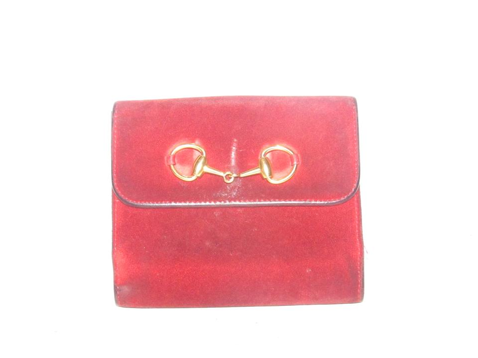 906b4b8e317c Gucci Red Suede and Leather with Gold Horse-bit Accent Vintage Wallets/Designer  Wallet