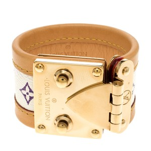 Louis Vuitton Beige Multicolor Monogram Canvas Leather S Lock Wide Cuff Bracelet