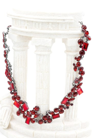 Ocean Fashion Fashion all red square round crystal necklace
