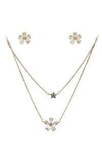 Ocean Fashion Gold Duplexes mini flowers crystal necklace earrings set
