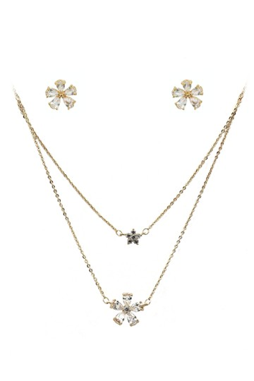 Preload https://img-static.tradesy.com/item/23632059/gold-duplexes-mini-flowers-crystal-earrings-set-necklace-0-0-540-540.jpg