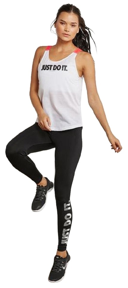 4daf0f07dc774 Nike White Black Breathe- Just Do It Women s Training - Activewear Top. Size   8 ...