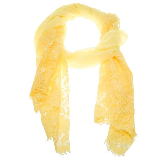 Valentino Yellow Cashmere Blend Scalloped Lace Detail Scarf