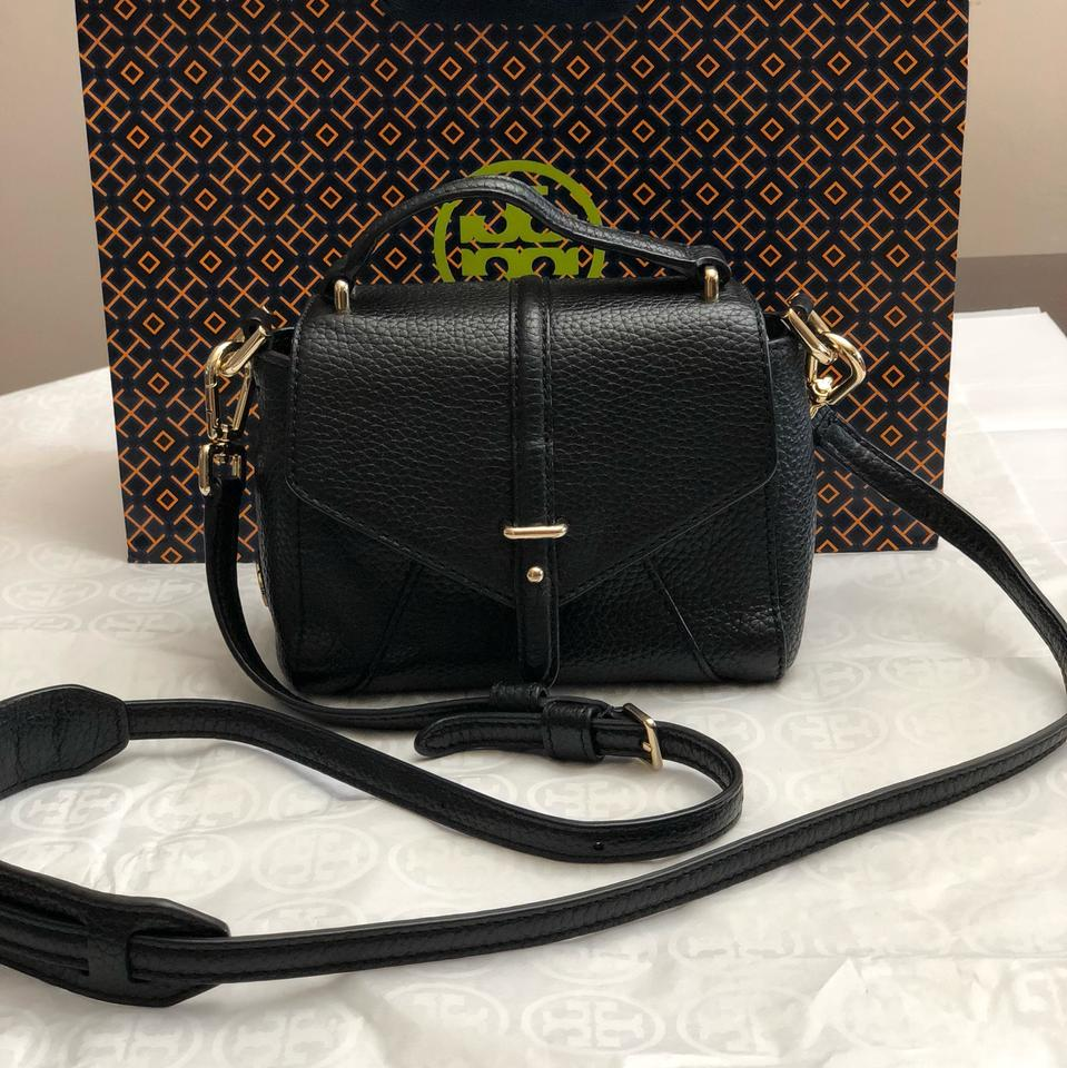 Cross Burch Tory Pebbled 797 Satchel Mini Body Leather Bag Black g0UPpwq