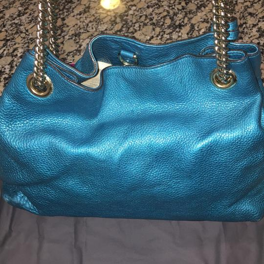 Gucci Tote in Metallic Aqua Blue Teal