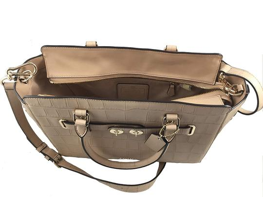 Coach Cross Leather Classic Timeless Satchel in Stone