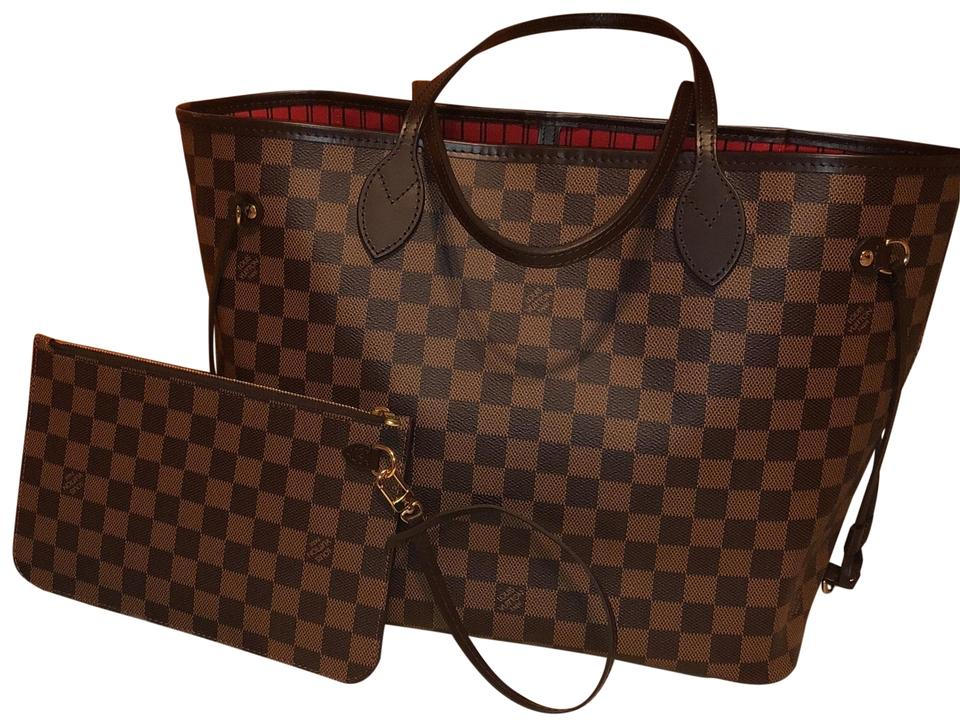 b8e92318c10f Louis Vuitton Neverfull Mm Damier Ebene Brown W Red Interior Lining ...