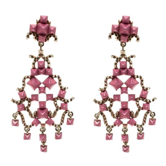 Valentino Valentino Pink Enamel Rockstud Gold Tone Long Dangle Clip-on Earrings