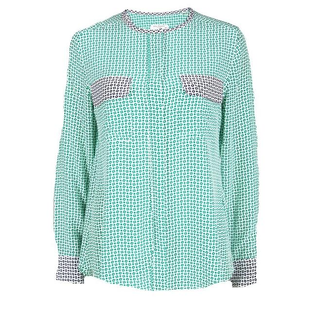 Equipment Contrast Detail Longsleeve Silk Top Green