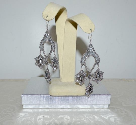 Miguel Ases New Authentic Miguel Ases Silver Beaded Contemporary Drop Earrings