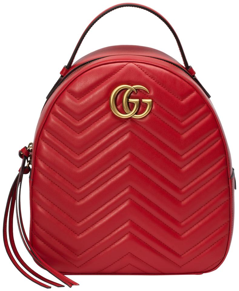 5fe0415ff Gucci Marmont New Quilted Red Leather Backpack - Tradesy