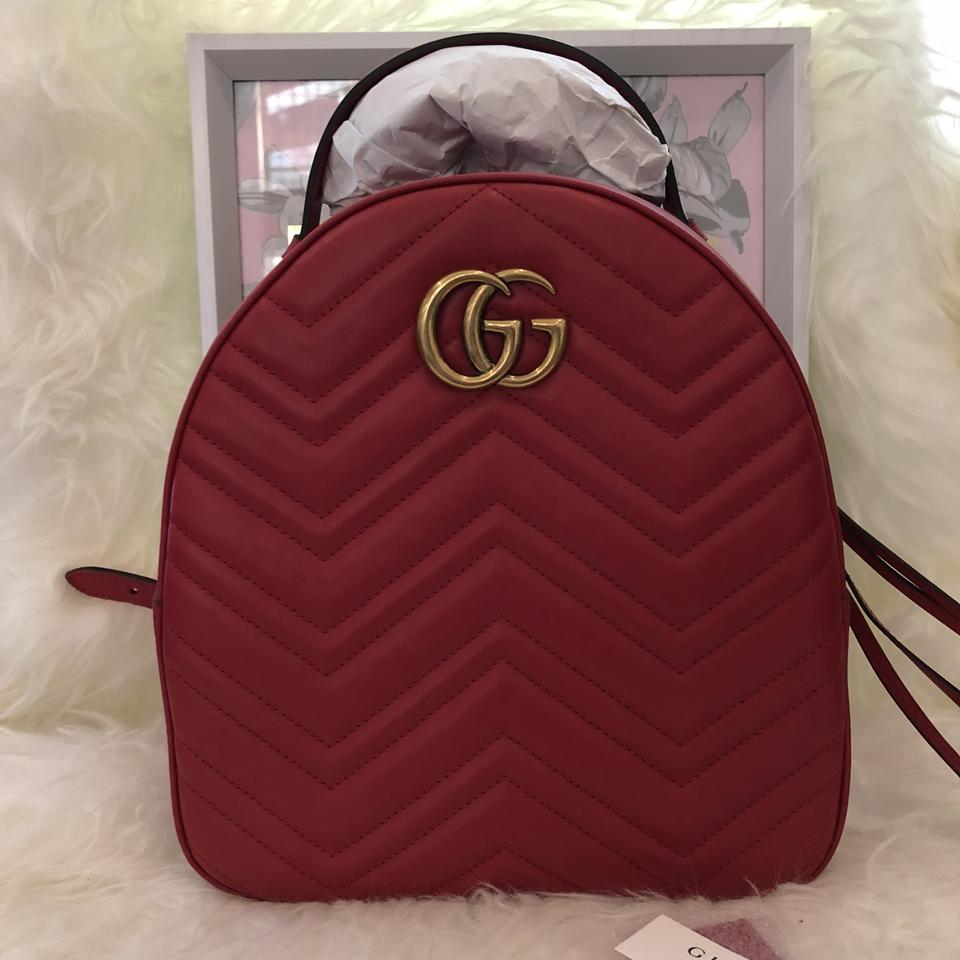 e559c896fb0a Gucci Marmont New Quilted Red Leather Backpack - Tradesy