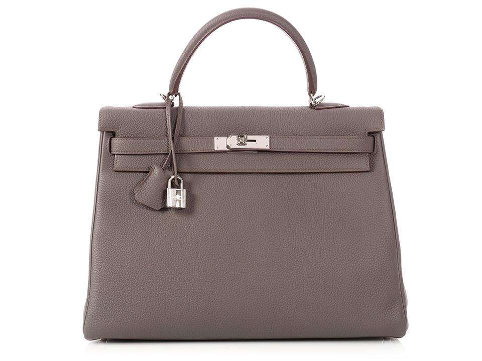 a1c953e05185 Hermès Kelly 35 Etain and Rouge Casaque Gray Togo Leather Satchel ...