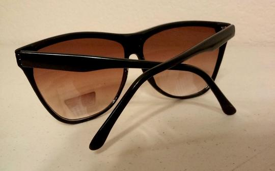 Other SALE True Vintage 1980 Flat top style Oversize Sunglasses Black with Reddish Trim