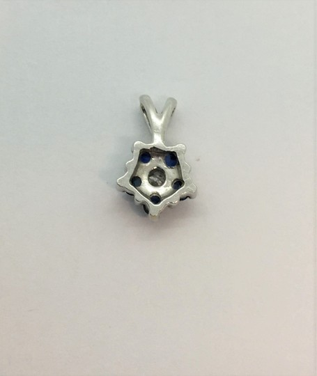 Other 14k White Gold Blue Spinel and Diamond Pendant