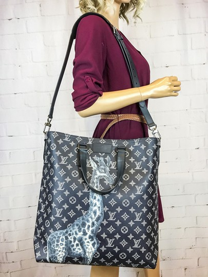 Louis Vuitton Chapman Borther Giraffe Monogram Tote in Navy Blue