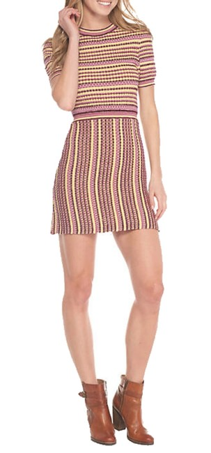 Free People short dress Pink Slight Shimmer Ribbed Trim Unlined Stretch Knit Up Or Down on Tradesy