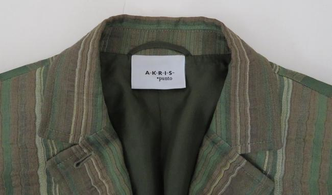 Akris Punto 3/4 Sleeve Jacket Striped Linen Tailored green Blazer