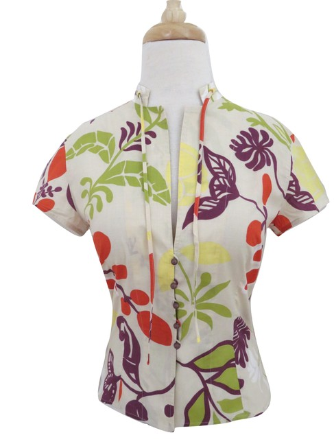 Akris Punto Short Sleeve Fitted Floral Printed Multi-color Top ivory