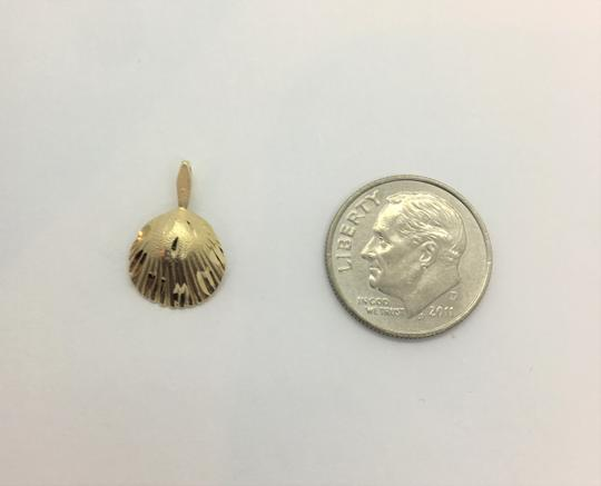 Other 14k Solid Yellow Gold Diamond Cut Seashell Pendant Charm