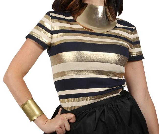 Preload https://img-static.tradesy.com/item/23633127/chanel-multicolor-gold-and-black-striped-short-sleeve-shirt-blouse-size-4-s-0-1-650-650.jpg