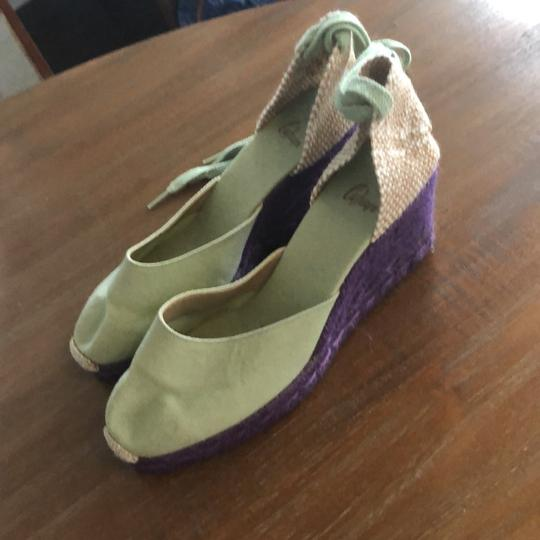 Castañer green and purple Wedges
