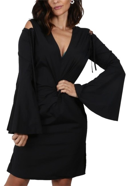 Preload https://img-static.tradesy.com/item/23633211/derek-lam-black-bell-sleeve-cold-shoulder-short-cocktail-dress-size-4-s-0-1-650-650.jpg