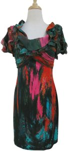 26c78783f2 Catherine Malandrino Abstract Silk Sheath Ruffle Print Dress