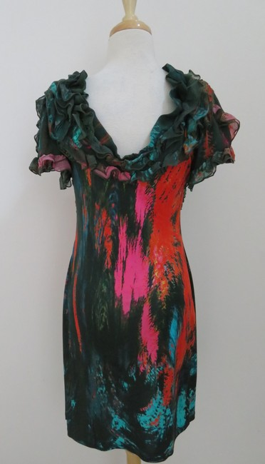 Catherine Malandrino Abstract Silk Sheath Ruffle Print Dress
