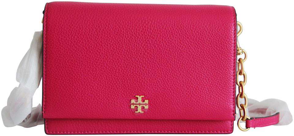 a323892595ca Tory Burch Georgia Pebbled Pink Leather Cross Body Bag - Tradesy