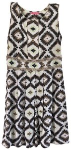 Joyous & Free short dress Brown & White Tribal Wood Beads Cotton on Tradesy