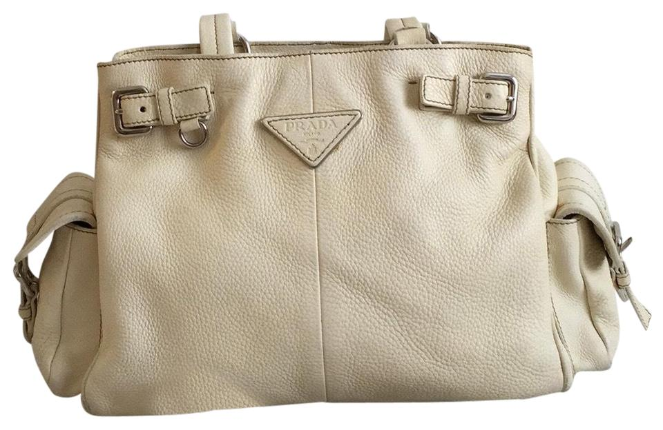 74ea131030663e Prada Vitello Daino Side Pocket Cream Leather Satchel - Tradesy