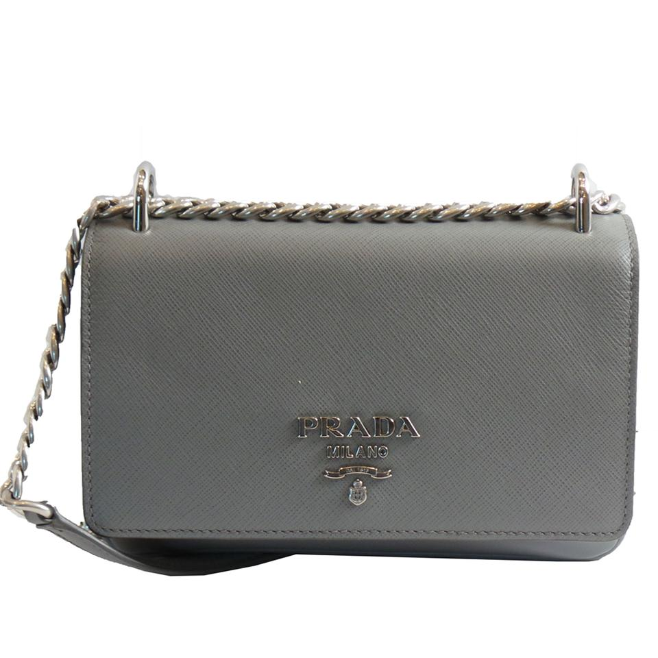 28bfa37f2fe8 Prada Women s Saffiano Soft Calf 1bd144 Gray Leather Cross Body Bag ...