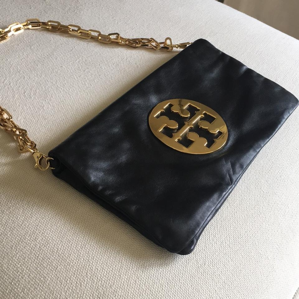 Strap with Bag Bag Burch Foldover Logo Clutch Leather Metal Tory Metal Shoulder Removable and xZP6nqw4