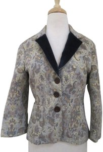 Edun Metallic Brocade Tailored Fitted Jacket gray Blazer