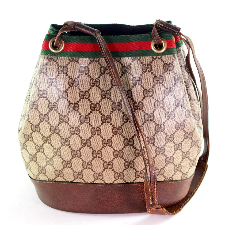 15af4d5dd0b Gucci Webby Drawstring Bucket 6264 Brown Coated Canvas Shoulder Bag ...