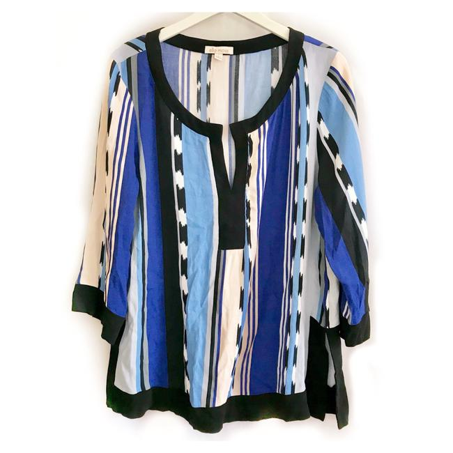 Item - Blue Black Cream Surfer Stripe Tunic Size 12 (L)