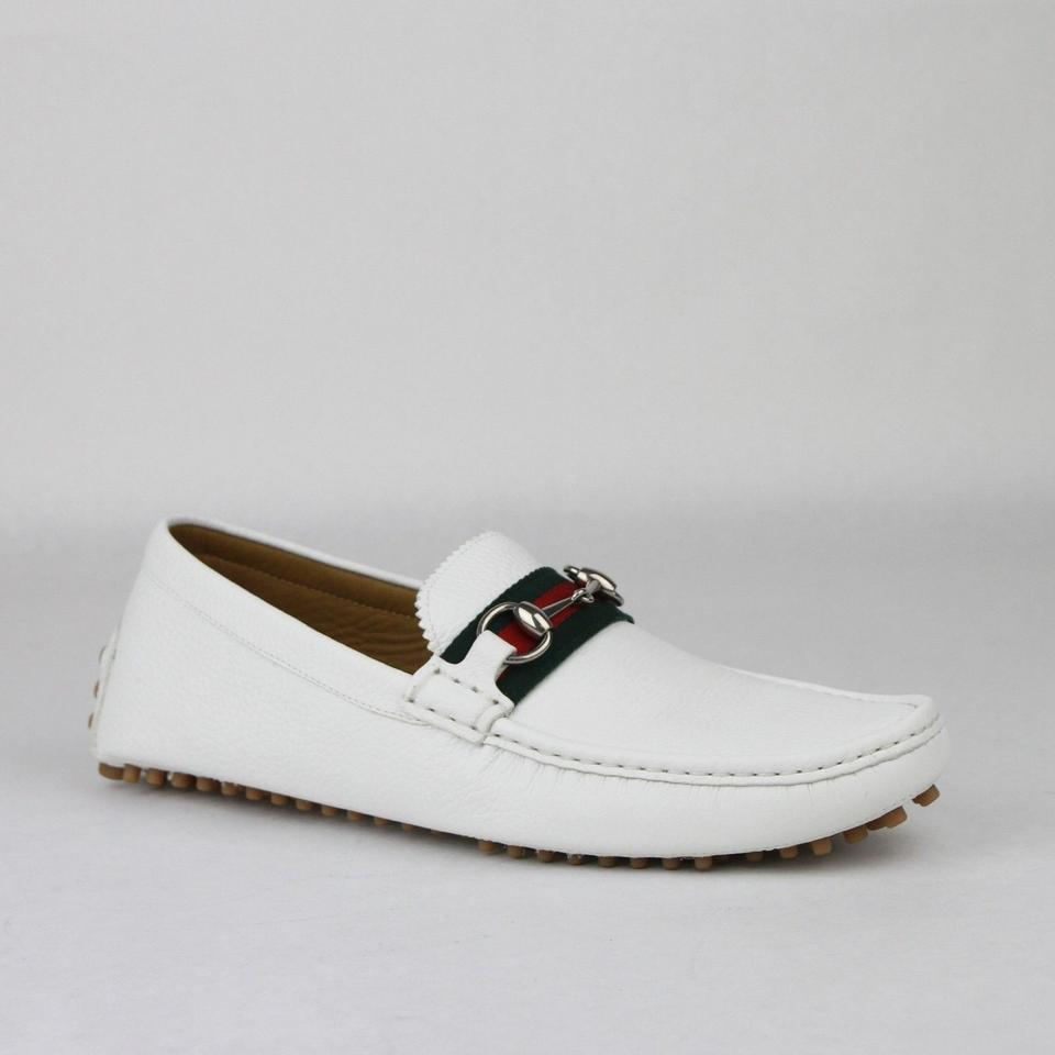 c4e82b2d9fe Gucci White Horsebit Leather Loafer Driver W Grb Web 13g Us 13.5 322741  9051 ...