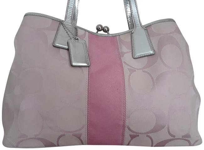 Item - Signature and Silver Lame Leather Medium Pink Canvas Satchel