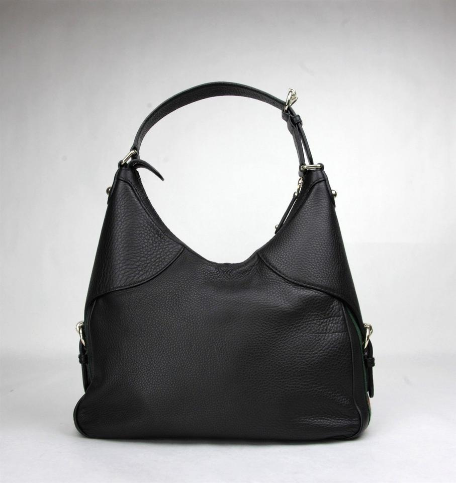 742916feea19 Gucci Shoulder Horsebit W Web W/Shoulder Strap 247304 Black Leather Hobo Bag  - Tradesy